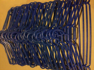 33 blue clothes hangers