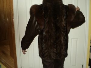 Brown Mink paw jacket with fox collar good condition