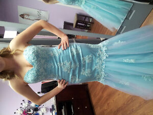 Beautiful aqua long gown with purple highlights in skirt