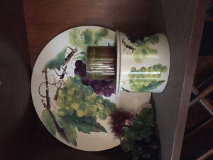 Plater and chilled Dip bowl for Wine & Cheese Grape Pattern