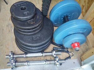 2 dumbells and over 150lbs of weights. + a free equipment