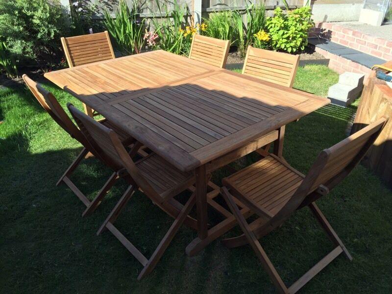 roscana teak wooden 6 seater dining set garden furniture extending table chairs