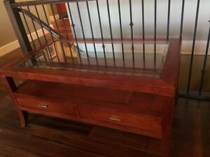 EUC solid wood coffee table set.