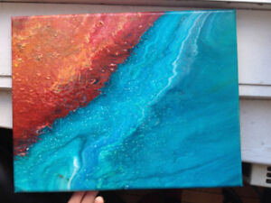 Beautiful Hand Poured Abstract Canvas Wall Hanging