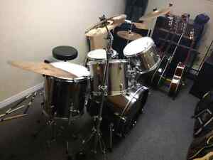 Upgraded CB 5 piece drum kit.  Evans skins, Zildjian cymbals,
