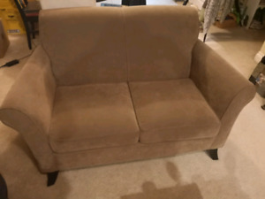 4 y/o old olive green micro suedey loveseat like new