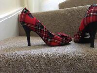 Red tartan shoes size euro 39 £10