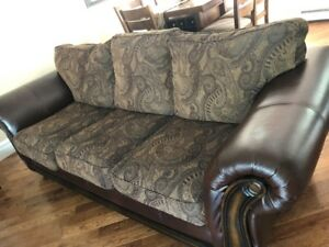 4 Piece Modern Leather and Fabric Living/Family Room Furniture