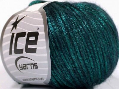 Rock Star 51555 Emerald Green Black Shiny Soft Nylon Merino Wool Yarn 50g 125y