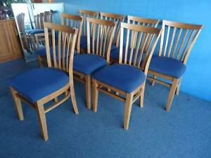 8 DINING CHAIRS HARD TIMBER DK OAK STAIN BLUE RED HARDY FABRIC VG Geebung Brisbane North East Preview