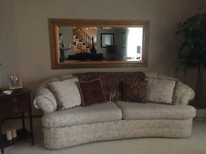 Cream Couch for Sale, complete with pillows and throw!