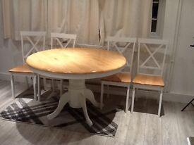 Epsom oak and white round pedestal dining set