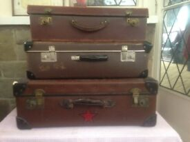 Set of 3 Vintage Suitcases/ Storage Boxes