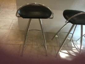 3 x Kitchen bar stools, black and chrome