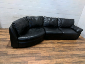 (Free Delivery) - All leather black sectional sofa from Ikea