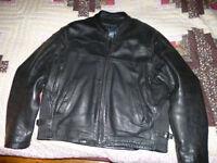 Man's Black Leather Motorcycle Jacket