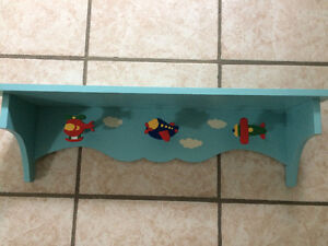 Boys airplane/helicopter bookshelf with hooks