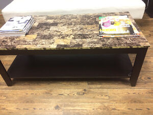 Beautiful Marble Design Coffee Table & 1 End Table