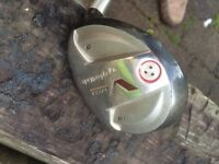 Taylor made V steel 18 degree 5 wood.