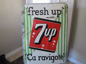 SEVEN UP- Vintage Bilingual Sign from 1950's