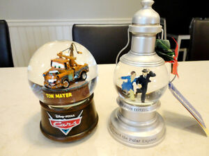 Two Mint Shape Snowglobes -Polar Bear Express and Cars Tow Mater