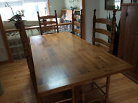 Pine Harvest Table with 6 ladder back chairs