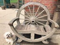 Antique wooden wheel bench
