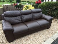 3 + 2. Brown Leather Sofas