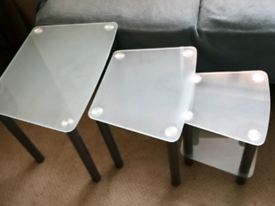Nest of 3 tables frosted glass and silver legs living room furniture