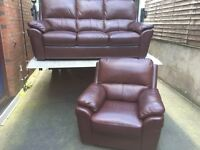Luxury 3 & 1 harveys chestnut brown leather sofas - can deliver