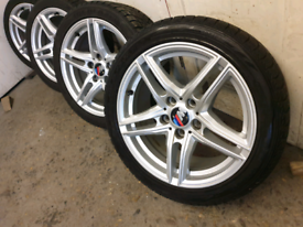 "17"" Bmw Borbet alloy wheels and winter tyres only 3 Months old"