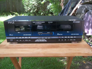 Pyle Dual Cassette Tape Deck, High Speed Dub, Noise Reduction,