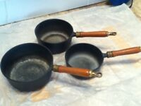 SET OF 3 SALTER CAST IRON SAUCEPANS