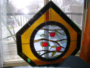 """41"""" x 40"""" custom made leaded stained glass panel."""
