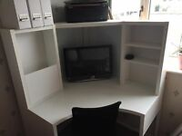 Ikea corner desk in white and office chair, excellent condition