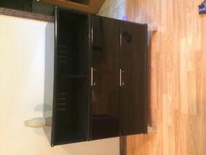 Media chest black lacquered, chrome details