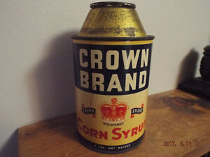 Vintage Crown Brand Corn Syrup Cone top Advertising Tin