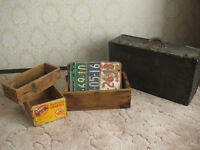 Vintage Crates, License Plates, Trunk
