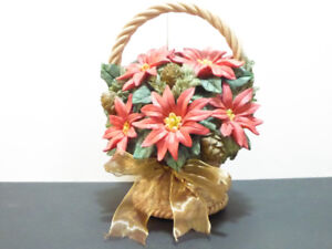 """2 LARGE CHRISTMAS """"POINSETTIAS IN A BASKET"""" ORNAMENT MUSIC BOX"""