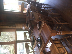 Antique harvest table and china cabinet