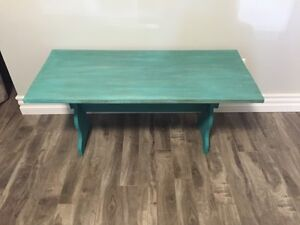 Refinished turquoise bench