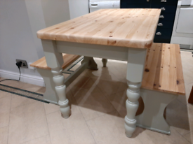 Solid pine farmhouse table and benches