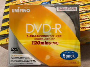 Unifino Blank DVD-R 4.7GB with slim case  85pcs made in japan