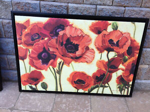 Framed Canvas Poppy Art