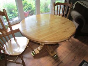 table, leaf and 4 matching chairs