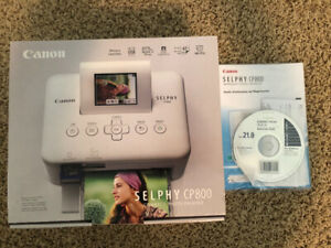 Canon Selphy CP800 white compact photo printer with photo paper