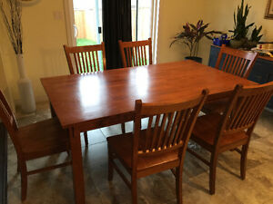 Maple Wood Dining  table  6 chairs