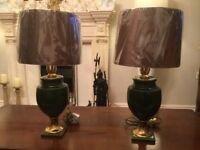 Pair bosa hand painted lamps