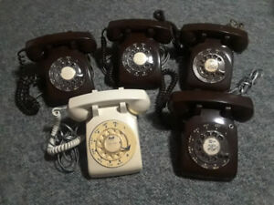 Selection of Five Old Corded Rotary Phones