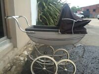 Vintage doll's silver cross pram